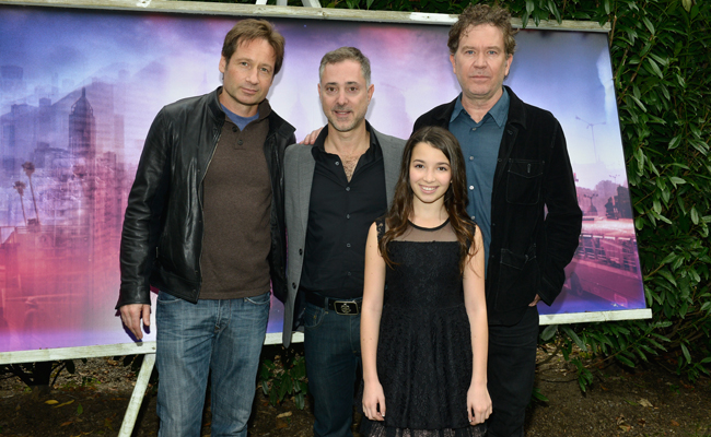 Actor David Duchovny, director Anthony Fabian, actress Olivia Steele Falconer, and actor Timothy Hutton attend the 21st Annual Hamptons International Film Festival on October 11, 2013 in East Hampton, New York. (Photo by Eugene Gologursky/Getty Images for The Hamptons International Film Festival)