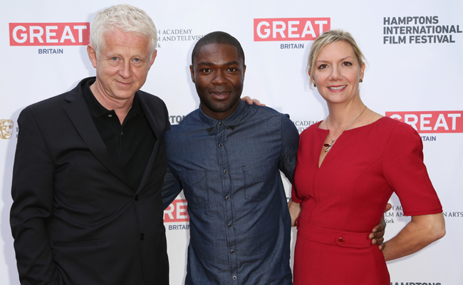 (L-R) Richard Curtis, actor David Oyelowo, and Hamptons International Film Festival Executive Director Anne Chaisson attend the 21st Annual Hamptons International Film Festival on October 12, 2013 in East Hampton, New York. (Photo by Monica Schipper/Getty Images for The Hamptons International Film Festival)