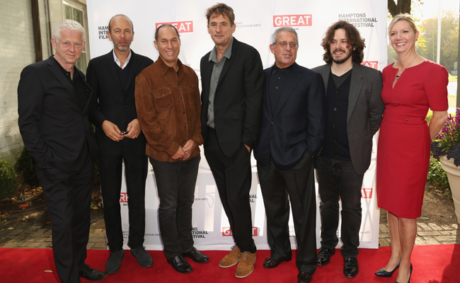 (L-R) Richard Curtis, Eric Fellner, Stuart Match Suna, Tim Bevan, Ron Meyer, Edgar Wright, and Anne Chaisson attend the 21st Annual Hamptons International Film Festival on October 12, 2013 in East Hampton, New York. (Photo by Monica Schipper/Getty Images for The Hamptons International Film Festival)