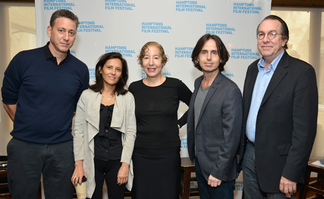 (L-R) Producer John Sloss, producer Joana Vicente, film distributor Nancy Gerstman, director Whitney Ransick, and Variety Vice President and Executive Editor Steven Gaydos attend the 21st Annual Hamptons International Film Festival on October 13, 2013 in East Hampton, New York. (Photo by Eugene Gologursky/Getty Images for The Hamptons International Film Festival)