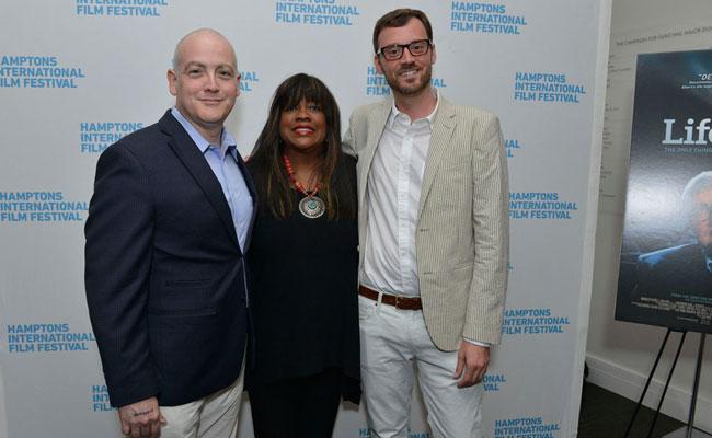 Matt Zoller Seitz, Chaz Ebert and David Nugent. Photo: Eugene Gologursky