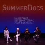 David Nugent, Matt Zoller Seitz, Chaz Ebert and Alec Baldwin in Q&A following HIFF SummerDocs screening of 'Life Itself.' Photo: Eugene Gologursky