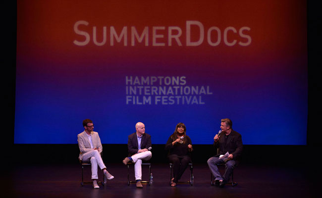 David Nugent, Matt Zoller Seitz, Chaz Ebert and Alec Baldwin in Q&A following HIFF SummerDocs screening of 'Life Itself.' Photo: Eugene Gologursky