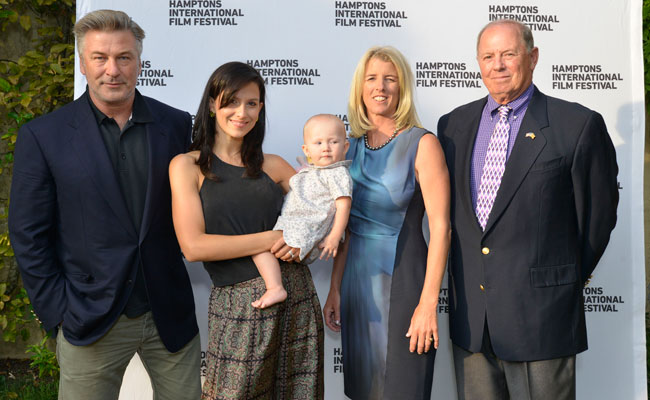 Alec, Hilaria and Carmen Baldwin with director Rory Kennedy and film subject Col. Stuart Herrington at SummerDocs screening of Last Days in Vietnam: August 16, 2014. Photo: Eugene Gologursky