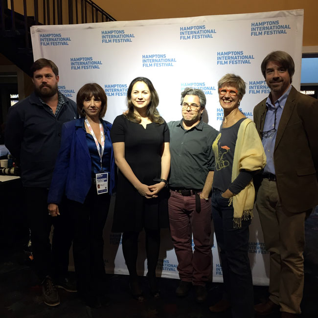 Fredrik Carlstrom, REACT to FILM; Kim Brizzolara; Rukmini Callimachi, Foreign Correspondent, The New York Times; Ross Kauffman, Co-director and Director of Photography of E-Team; Carroll Bogert, Deputy Executive Director for External Relations, Human Rights Watch; and Louis Bickford, Global Human Rights Program Officer, Ford Foundation at the Films of Conflict & Resolution Panel at HIFF, October 12, 2014.