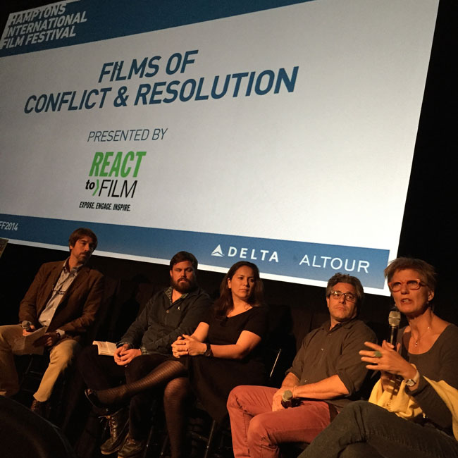 Louis Bickford, Global Human Rights Program Officer, Ford Foundation; Fredrik Carlstrom, REACT to FILM; Rukmini Callimachi, Foreign Correspondent, The New York Times; Ross Kauffman, Co-director and Director of Photography of E-Team; and Carroll Bogert, Deputy Executive Director for External Relations, Human Rights Watch at the Films of Conflict & Resolution Panel at HIFF, October 12, 2014.