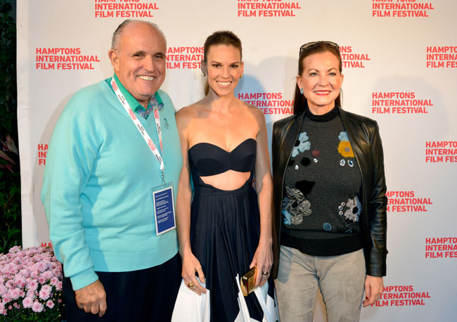 Rudy Giuliani, Hilary Swank and Judith Nathan attend 'The Homesman' premiere during the 2014 Hamptons International Film Festival on October 12, 2014 in East Hampton, New York. (Photo by Eugene Gologursky/Getty Images)