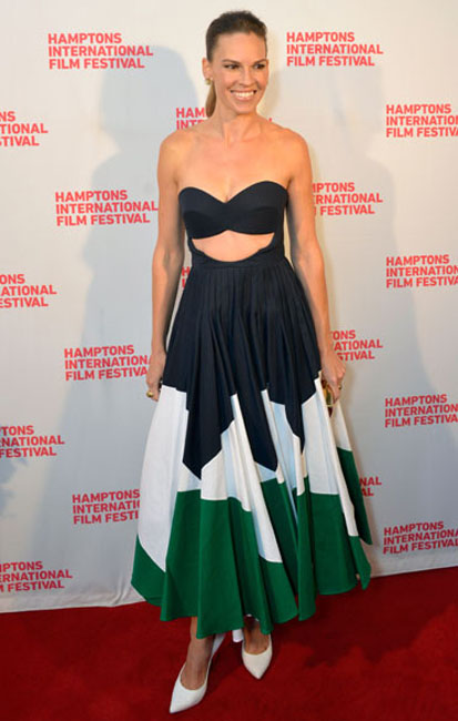 Hilary Swank attends 'The Homesman' premiere during the 2014 Hamptons International Film Festival on October 12, 2014 in East Hampton, New York. (Photo by Eugene Gologursky/Getty Images)