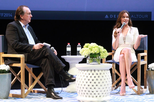 Executive Editor at Variety Steven Gaydos and Hilary Swank speak at A Conversation with Hilary Swank during the 2014 Hamptons International Film Festival on October 12, 2014 in East Hampton, New York. (Photo by Rob Kim/Getty Images)