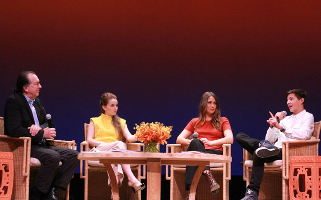 Executive Editor at Variety Steven Gaydos and actors Kaitlyn Dever, Lola Kirke and Tye Sheridan speak at Variety's 10 Actors To Watch Panel during the 2014 Hamptons International Film Festival on October 12, 2014 in East Hampton, New York. (Photo by Rob Kim/Getty Images)