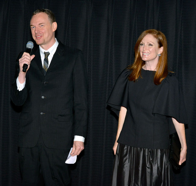 Director Wash Westmoreland and actress Julianne Moore introduce 'Still Alice' at the US premiere during the 2014 Hamptons International Film Festival on October 13, 2014 in East Hampton, New York. (Photo by Eugene Gologursky/Getty Images)