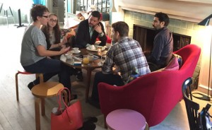 Impromptu breakfast mentoring with Nicole Perlman (left) and Alexander Dinelaris (center) at the 2015 HIFF Screenwriters Lab. Also pictured is Juna Skenderi, Jared Goodman and Philip Aceto