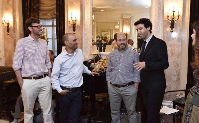 David Nugent, Amir Bar-Lev, Andrew Rossi and Alex Karpovsky speak at the Hamptons International Film Festival Auteur Dinner Series in NYC, May 27, 2015. (Eugene Gologursky/Getty Images for HIFF)