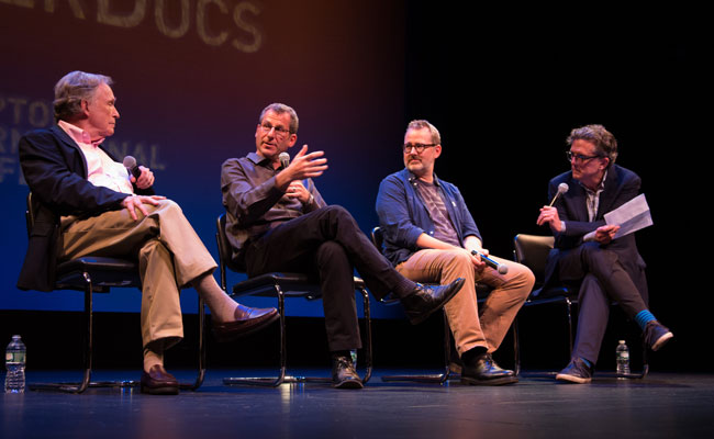 Dick Cavett and Kurt Andersen talk with directors Morgan Neville and Robert Gordon following the Hamptons Film SummerDocs screening of Best of Enemies on July 11, 2015. With support from The Wall Street Journal. Photo credit: Jennifer Melhofer.