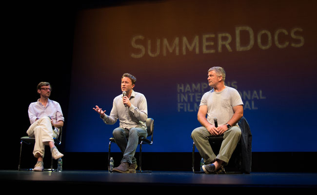 David Nugent, Stevan Riley, and Alec Baldwin in Q&A following the HIFF SummerDocs screening of 'Listen to Me Marlon' at Guild Hall on August 1, 2015. Photo credit: Jennifer Meihofer