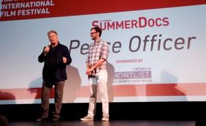 Alec Baldwin and David Nugent. SummerDocs screening of 'Peace Officer,' August 28, 2015. Photo credit: Adriel Reboh.