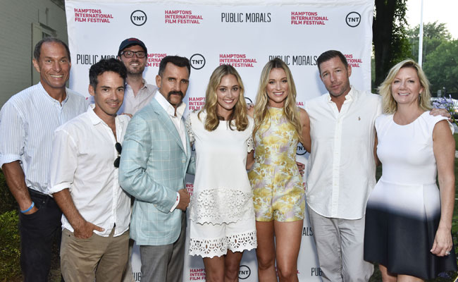 "Stuart Match Suna, Aaron Lubin, David Nugent, Wass Stevens, Elizabeth Masucci, Katrina Bowden, Edward Burns & Anne Chaisson at ""Public Morals"", a TNT Original Series, screening presented by HIFF and TNT, August 3, 2015. (Photo by Eugene Gologursky/Getty Images for HIFF)"