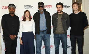 Actor Morgan Freeman with Actors to Watch Keith Stanfield, Bel Powley, Christopher Abbott, and Thomas Mann at the Variety 10 Actors to Watch panel and brunch. (Monica Schipper/Getty Images)