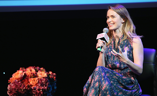 Actress Emily Blunt speaks on stage during A Conversation With... at HIFF 2015. (Getty Images)