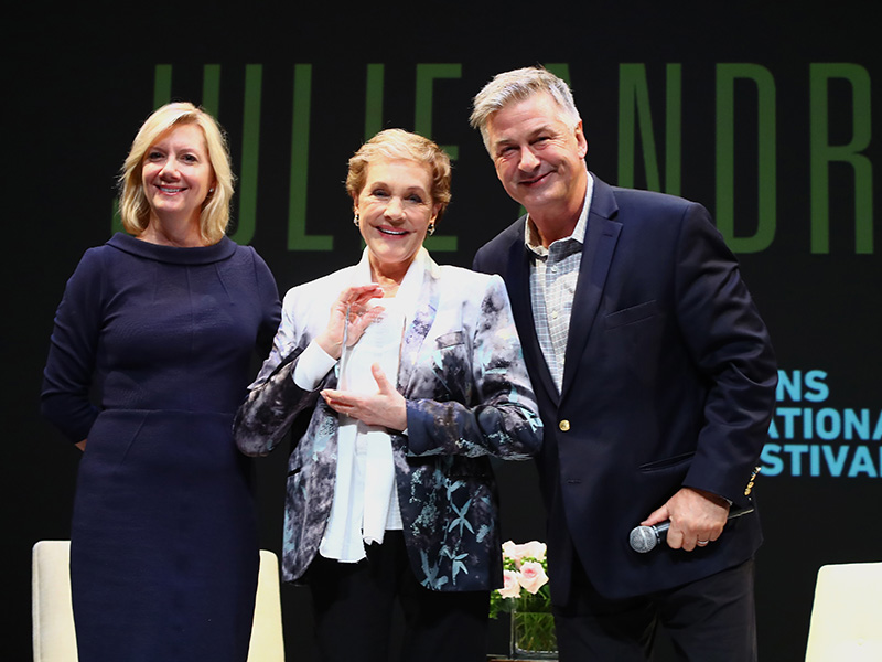 Anne Chaisson, Julie Andrews, and Alec Baldwin at the Lifetime Achievement Award presentation at HIFF25. (Photo by Astrid Stawiarz/Getty Images)