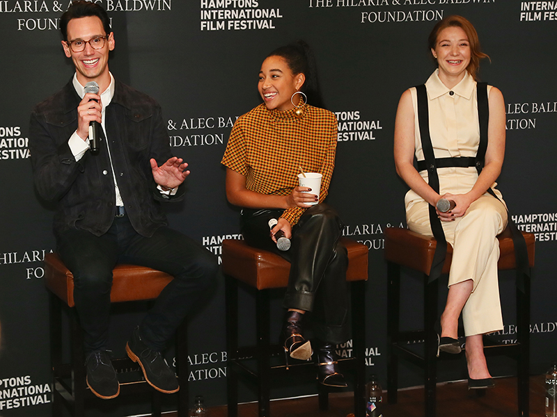 Breakthrough Artists Cory Micheal Smith (1985, FIRST MAN), Amandla Stenberg (THE HATE U GIVE) and Kayli Carter (PRIVATE LIFE) at the Winick Talk at Rowdy Hall on October 6. (Photo by Astrid Stawiarz/Getty Images)