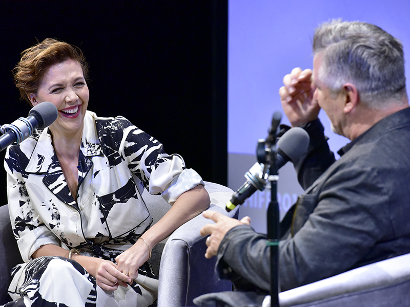 Actors Maggie Gyllenhaal and Alec Baldwin speak on stage during A Conversation With Maggie Gyllenhaal at Bay Street Theater during #HIFF2018 on October 5, 2018. (Photo by Eugene Gologursky/Getty Images)