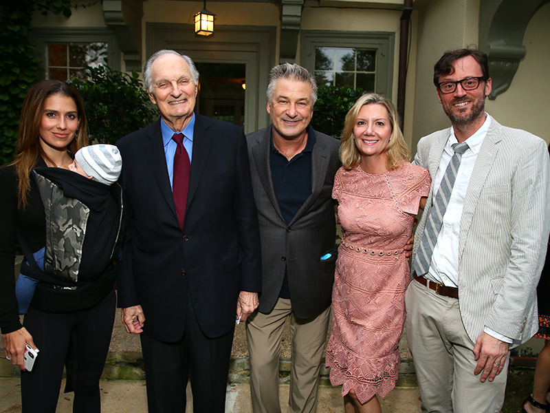 Hilaria Baldwin, Dick Cavett Artistic Champion Award recipient Alan Alda, HIFF co-chairman Alec Baldwin, Anne Chaisson and David Nugent attend the reception for Alan Alda at Baker House on October 4, 2018. (Photo by Astrid Stawiarz/Getty Images)